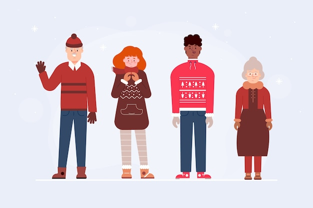 Group of people wearing winter clothes Free Vector