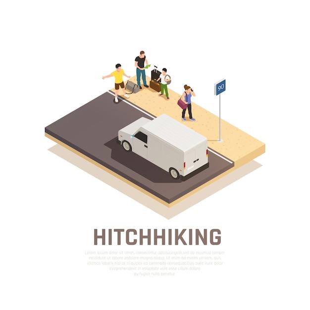 Gruppo di persone con bagaglio sulla strada per la composizione isometrica di viaggio autostop Vettore gratuito