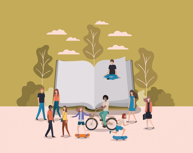 Group of people with book avatars characters Premium Vector