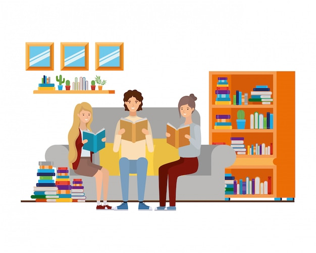 Group of people with book in hands in living room Premium Vector