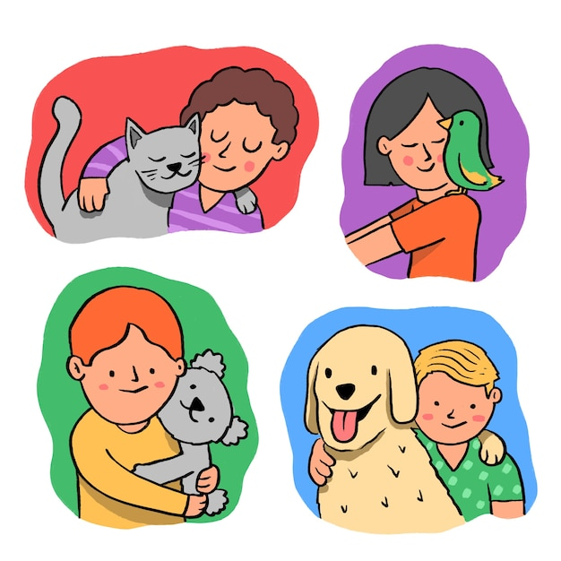 Group of people with different pets Free Vector