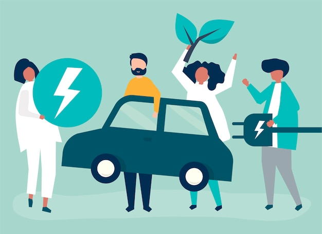Group of people with an electric car Free Vector