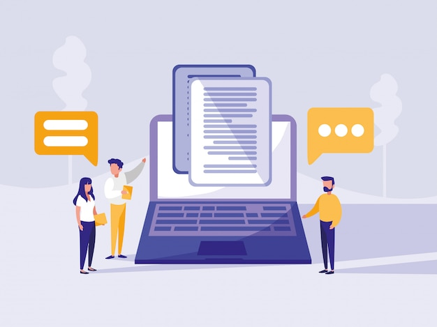 Group of people with laptop in landscape Premium Vector