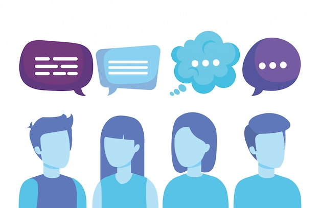 Group of people with speech bubbles Free Vector