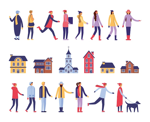 Group of people with winter clothes and buildings Free Vector