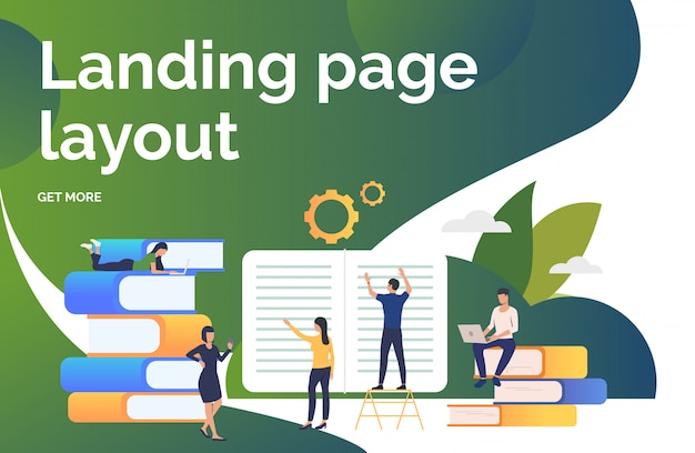 Group of people working on books presentation slide Free Vector