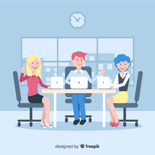 Group of people working at the office Free Vector