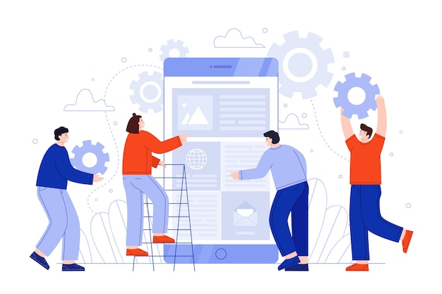 Group of people working together Free Vector