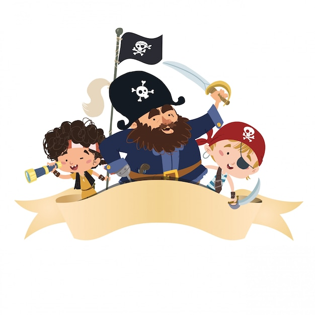 Group of pirates with a band Premium Vector