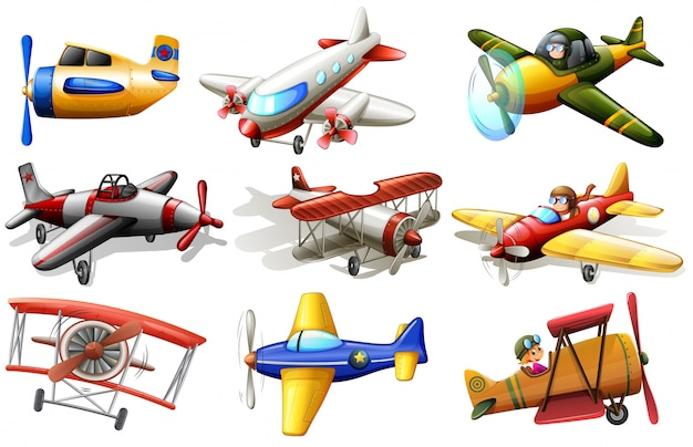 A group of planes Premium Vector