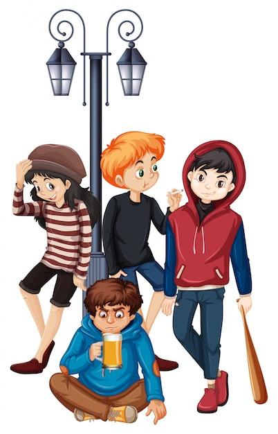 Group of problem street teenager illustration Premium Vector