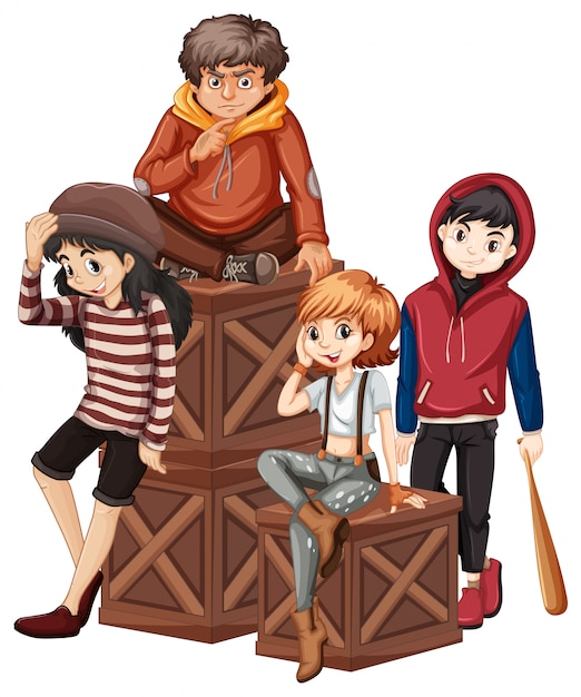 Group of problem teenager Free Vector