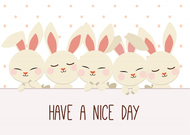 Group of rabbits with a polka dot. have a nice day Premium Vector