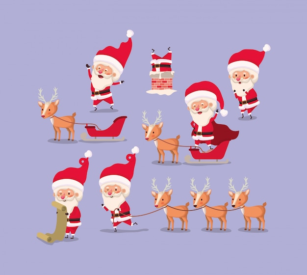 Group of santa claus and reindeer Free Vector