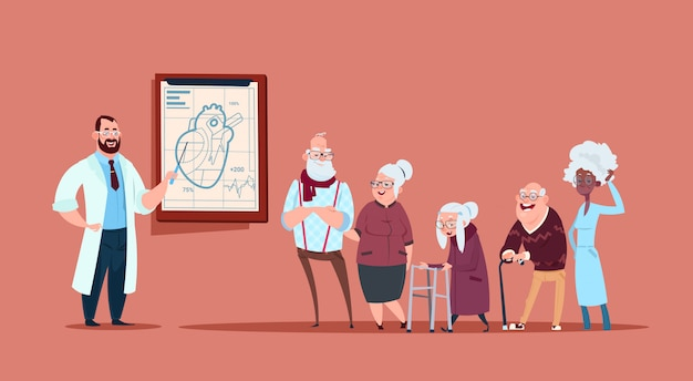 Group of senior people on consultation with doctor, pensioners in hospital health care concept Premium Vector