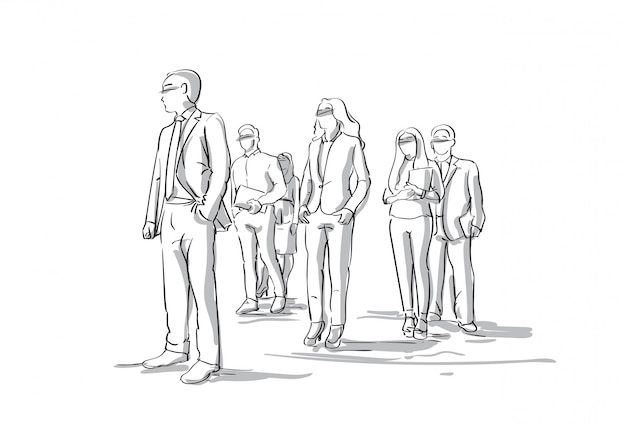Group of sketch businesspeople business men and women crowd full length Premium Vector