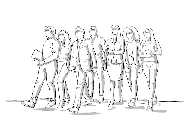 Group of sketch businesspeople walking business men and women crowd full length Premium Vector