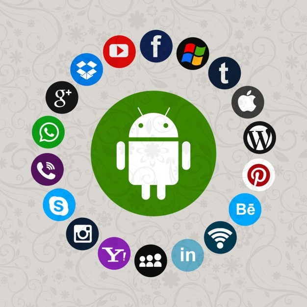 Group of social media icons Free Vector