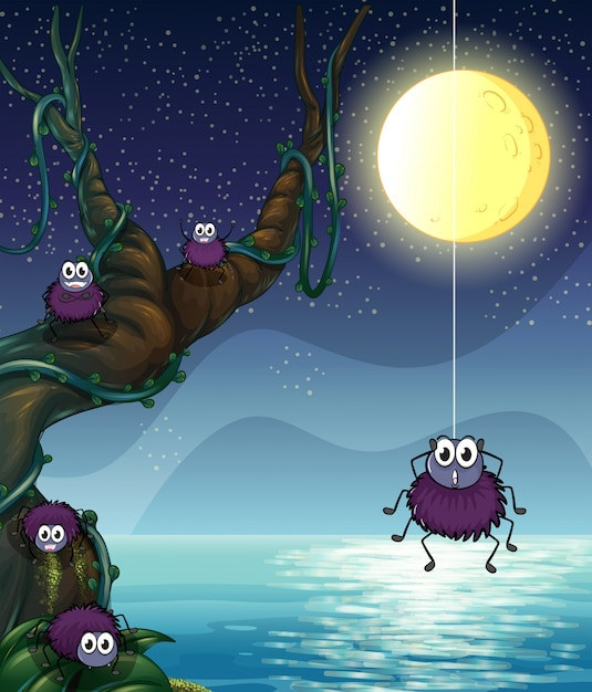 A group of spiders Free Vector