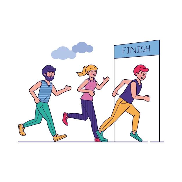 Group of sportsmen running marathon vector illustration Free Vector
