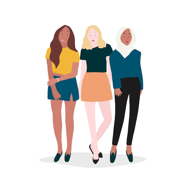 Group of strong women vector Free Vector