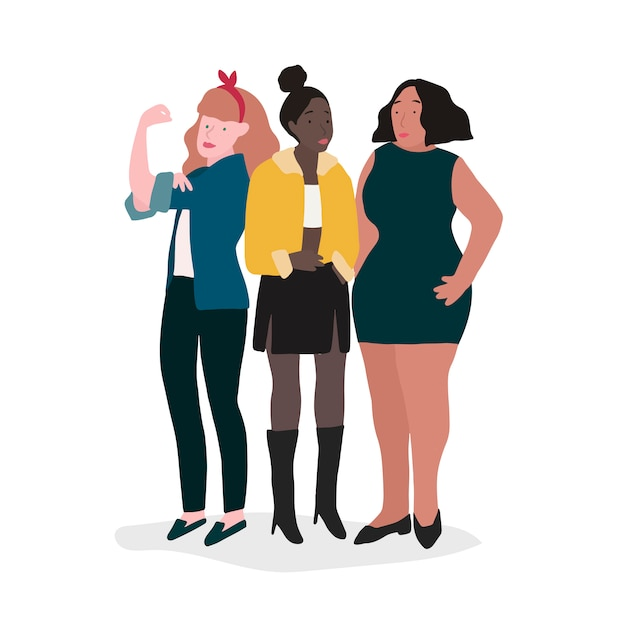 Group of strong women Free Vector