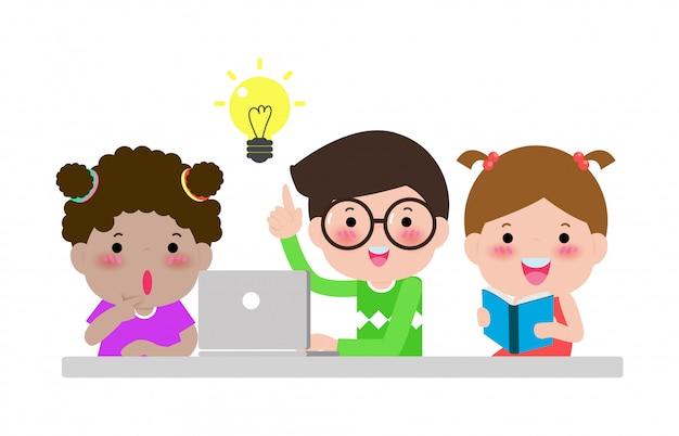 Группа студентов обсудить для творческих идей. воспитание коллективной работы и мозговой штурм изолированные на белом иллюстрации счастливые дети обратно в школу Premium векторы