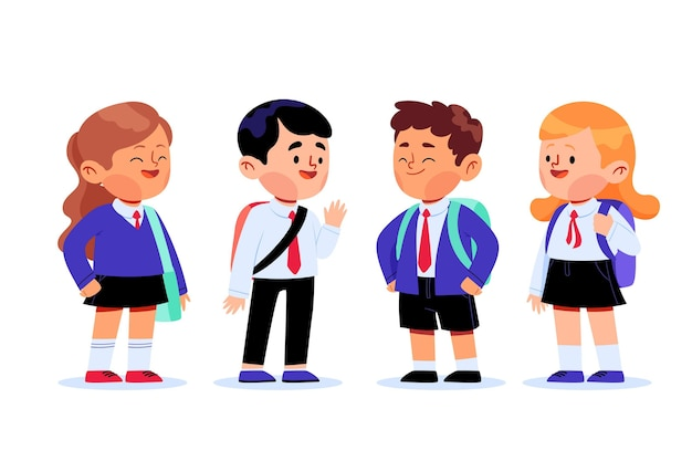 Group of students at school Free Vector