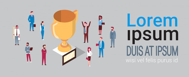 Group of successful businesspeople over golden cup business team success concept isometric Premium Vector