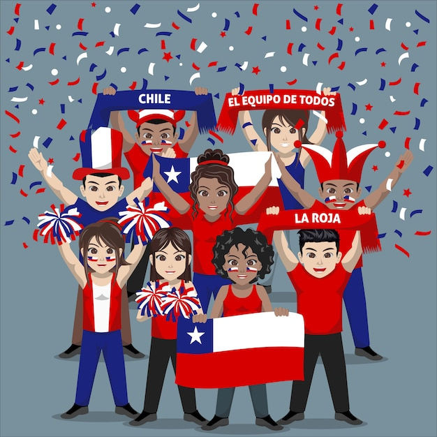 Group of supporter from chile national football team Premium Vector