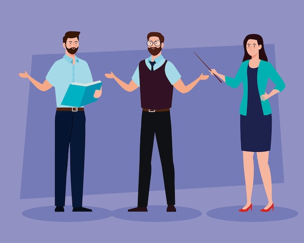 Group of teachers meeting, education concept Premium Vector