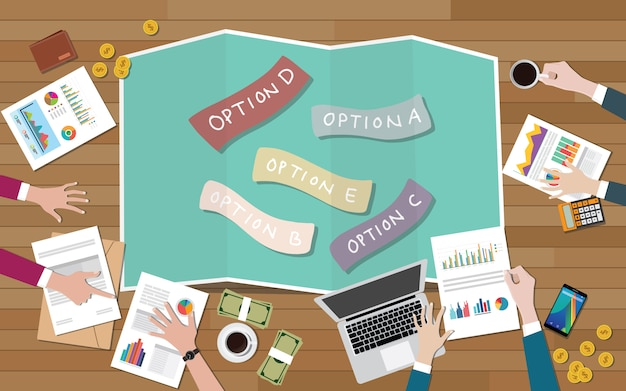 Group of team choose options decide better decisions Premium Vector