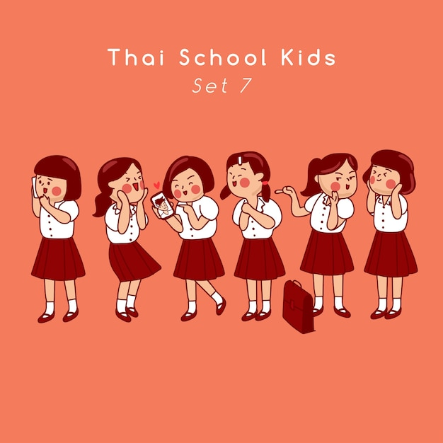 Group of thai secondary school kids isolated on background  vector illustration Premium Vector
