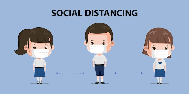 Group of thai student distancing standing character pose. siam bangkok school thailand safe from covid-19. Premium Vector