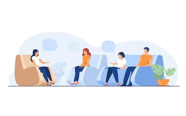 그룹 치료 및 지원 개념 무료 벡터