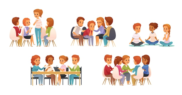 Group therapy cartoon icon set with group of three or four children Free Vector