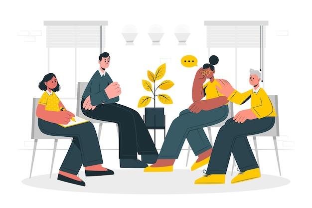Illustrazione di concetto di terapia di gruppo Vettore gratuito