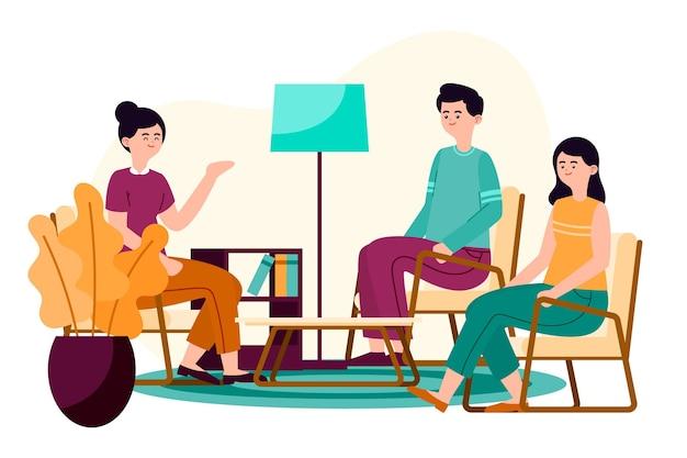 Иллюстрация концепции групповой терапии Бесплатные векторы