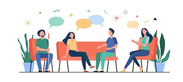集団療法の概念。人々は出会い、話し、問題について話し合い、支援を与え、受けます。カウンセリング、中毒、心理学者の仕事、サポートセッションの概念のベクトルイラスト。 無料ベクター