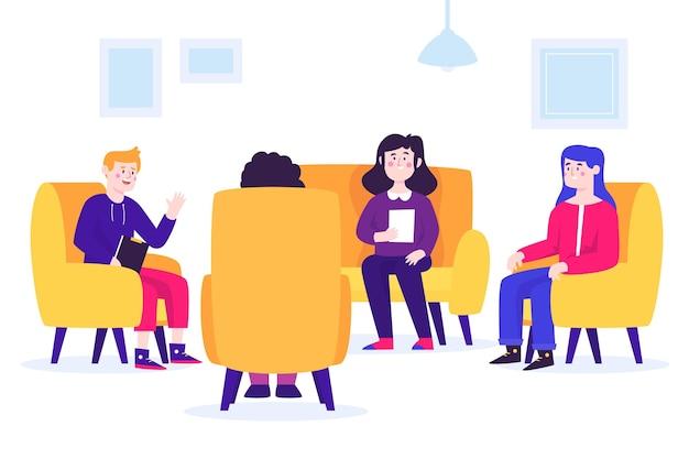 Concetto di illustrazione di terapia di gruppo Vettore gratuito
