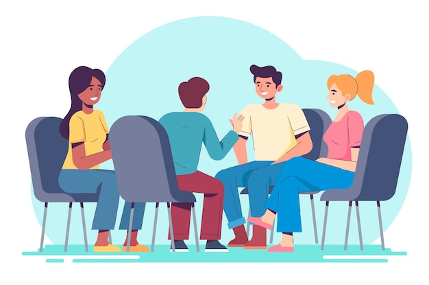 Group therapy illustration concept Free Vector