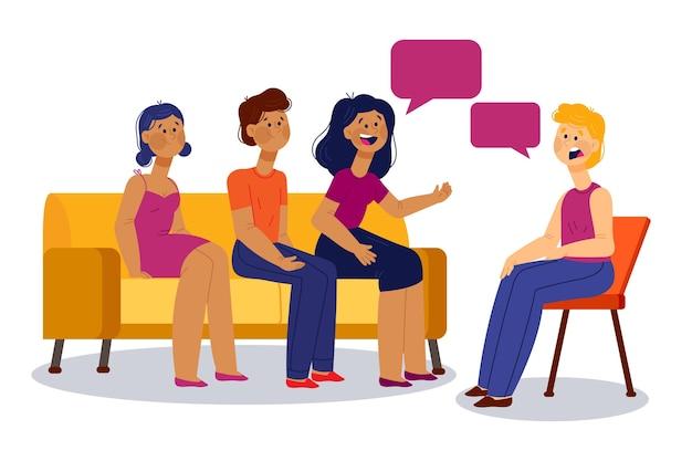 Иллюстрация групповой терапии Premium векторы