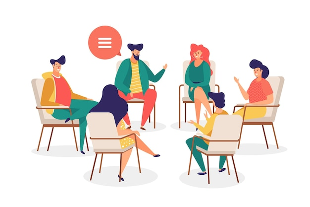 Group therapy illustration Premium Vector