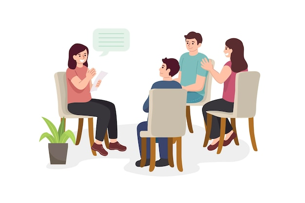 Illustrazione di terapia di gruppo Vettore gratuito