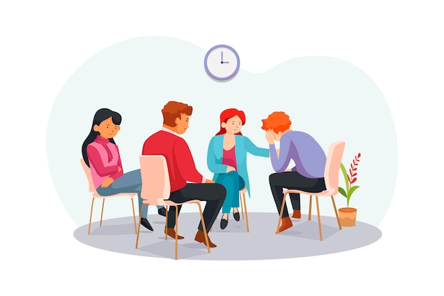 Group therapy illustration Free Vector