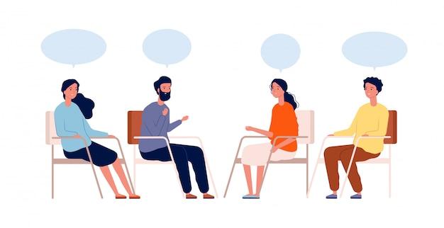 グループ療法。心理学者が座っているヘルプメンターセッション中毒治療のキャラクター Premiumベクター