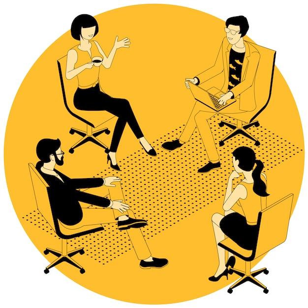 Иллюстрация сеанса групповой терапии. Premium векторы