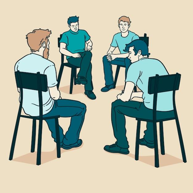 Групповая терапия с мужчинами Бесплатные векторы