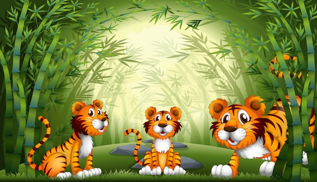 Group of tiger at bamboo forest Premium Vector