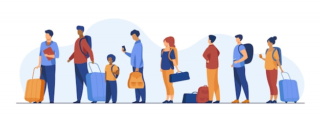 Group of tourist with luggage standing in line Free Vector